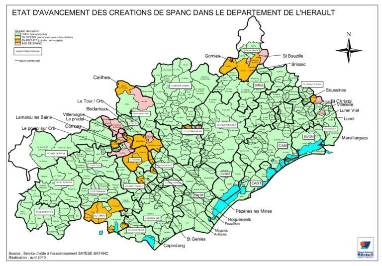 Carte des spanc dans l'Hérault - 34